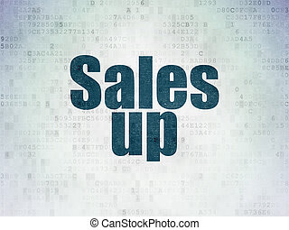 Marketing concept: Sales Up on Digital Data Paper background