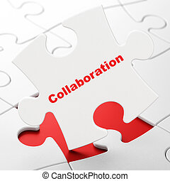 Finance concept: Collaboration on puzzle background