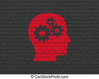 Information concept: Head With Gears on wall background -...