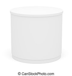 White POS POI cylinder. Isolated on white. 3D illustration