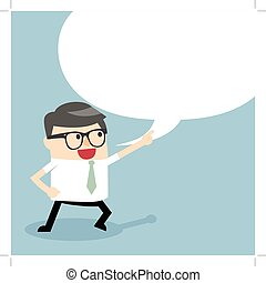 Businessman talking with speech balloon. Businessman...
