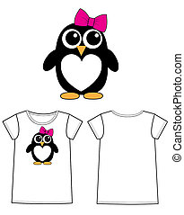 a sweet little penguin girl - print for children fashion...