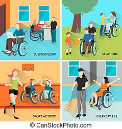 Disabled People Icons Set - Disabled people icons set with...