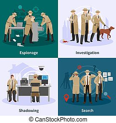 Spy Flat Concept - Spy flat concept with detectives dressed...