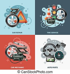 Car Service Concept Icons Set