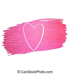 Hand made vector pink paint stroke glitter texture with heart