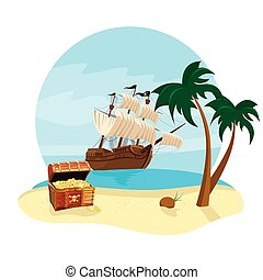 summer holidays travel icon with pirate ship, coconut tree, treasure chest and beach