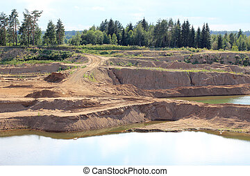 Sand pit with water - Large sand pit with water