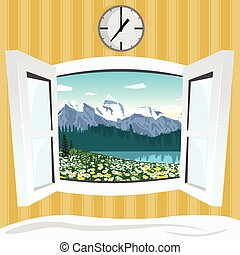 open window with summer mountain landscape view - open...