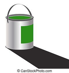 Paint Can Green - A can of green paint with a shadow...