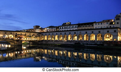Florence Vasari corridor - time lapse at sunset of the old...