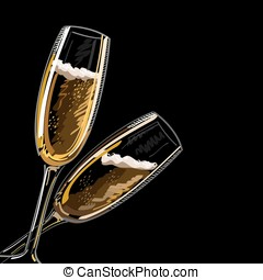 Two glasses with champagne on a black background, vector illustration.