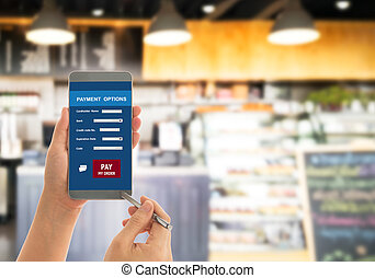 Payment - Using apps function. Payment on a smartphone in...
