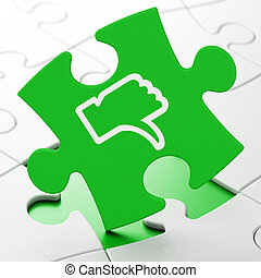 Social media concept: Thumb Down on puzzle background -...