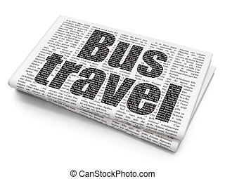 Vacation concept: Bus Travel on Newspaper background -...