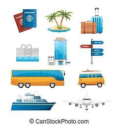 セット, アイコン, 旅行, 現実的, ベクトル, 観光事業