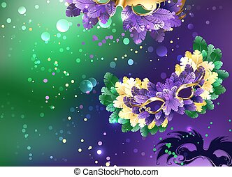 Background with fluffy masks - Bright purple and green...
