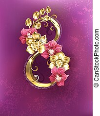 Eight of gold orchids - Eight Gold with gold and pink...