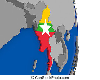 Myanmar on globe with flag - Flag of Myanmar on simple globe...