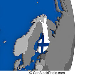 Finland on globe with flag - Flag of Finland on simple globe...