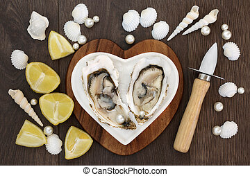 Fruits of the Sea - Oysters on crushed ice on a heart shaped...