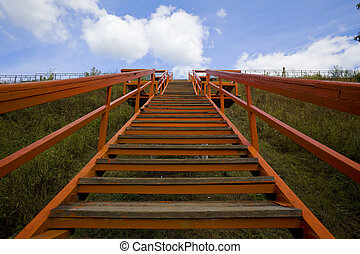 Red stair in the sky
