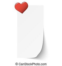 sticky paper with heart pin - little white sticky paper with...
