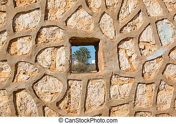 Wall in Sidi Ifni, Morocco - Wall in small town Sidi Ifni in...