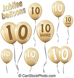 jubilee balloons - golden jubilee balloons for 10 years in...
