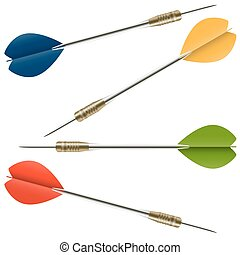 darts in four colors - hight detailed darts with metal shaft...