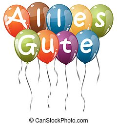 colored balloons - Alles Gute - flying colored balloons with...
