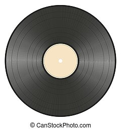 vinyl record - black vinyl record with empty ocher label on...