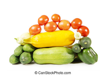 Collection of healthy ripe vegetables isolated on white background
