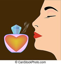 Perfume bottle and profile of woman's face on dark...