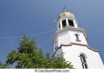 Church tower in Pomorie from the 17th century in Bulgaria