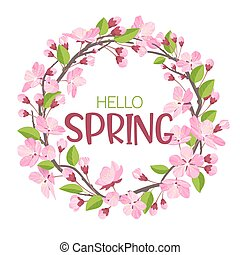 Wreath from spring flowers. Blossoming branches of...