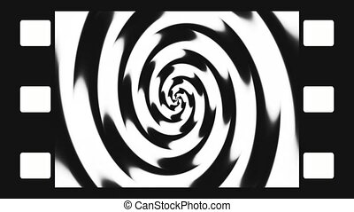 Animated abstract illustration of black and white spirals...