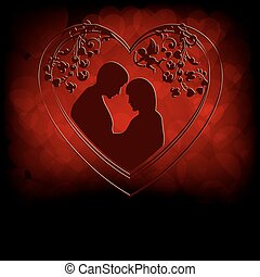 Red background with silhouettes of two lovers
