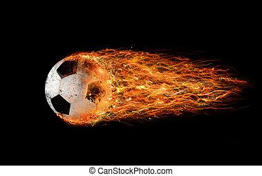 Soccer fireball - Professional soccer fireball leaves trails...