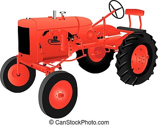Veteran Tractor - A Red Veteran Farm Tractor isolated on...