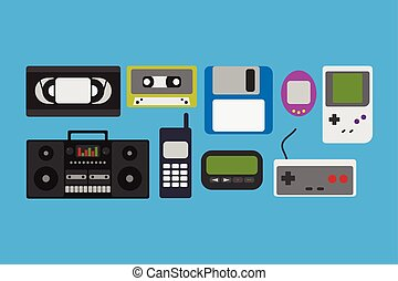 Vector illustration 90s gadget icons