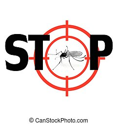 Stop zika virus. Vector qnat mosquto sign illustration