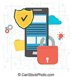 Data protection and encryption - Vector concept data...