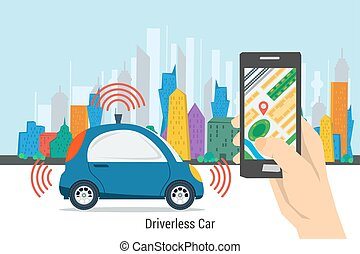Mobile control for driverless car - Vector self driving car...