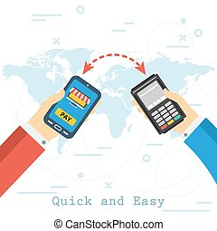 Quick and Easy Mobile Payment - Hand with smartphone and...