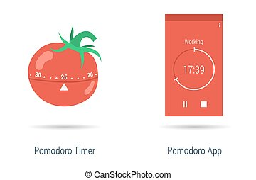Concept of pomodoro timer and app - Vector concept time...
