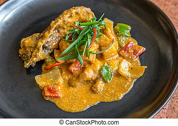 Gourmet spice curry rock lobster. - Gourmet spice curry rock...