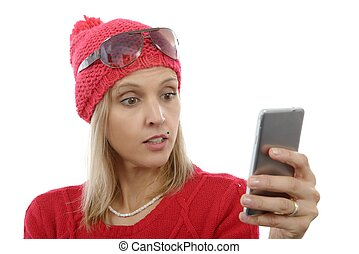 pretty blonde woman with cell phone