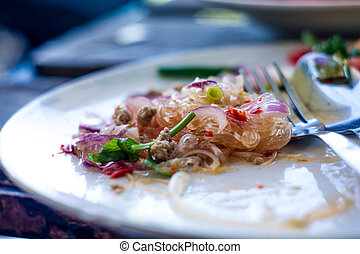 Yum vermicelli is thai  food ,with spicy food