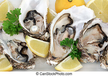 Fresh Oysters - Fresh oysters with lemon fruit, parsley and...